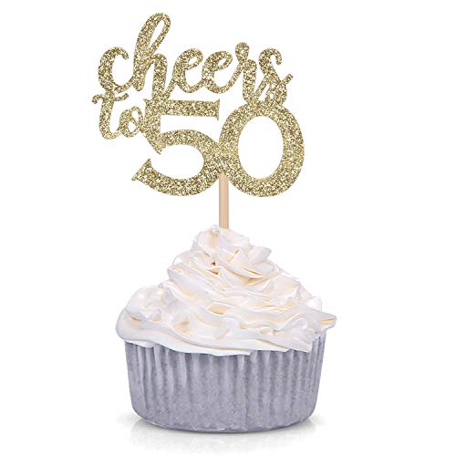 Gold Glitter Cheers to 50 Cupcake Toppers 50th Birthday Celebrating Party Decorations