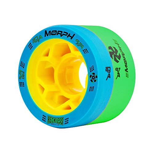 Reckless Wheels - Morph - 4 Pack of 38mm x 59mm Dual-Hardness Roller Skate Wheels | 93A/97A | Blue/Green