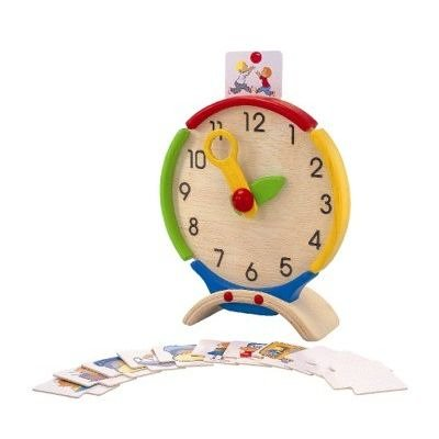 PlanToys Wooden Learn to Tell Time Activity Center Clock (5122) | Sustainably Made from Rubberwood and Non-Toxic Paints and Dyes