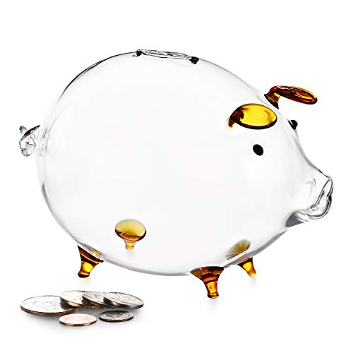 Erreloda Piggy Bank Transparent Creative Glass Coin Bank Small Glass Piggy Bank Money for Children Boys and Girls Birthday Gifts Home Decorative Gift Box Gold