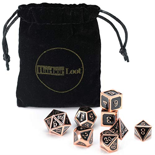 Harbor Loot Full Metal Dice Set Plus Extra D6 Total Eight Dice Metal Polyhedral Dice Set Black and Copper Dice