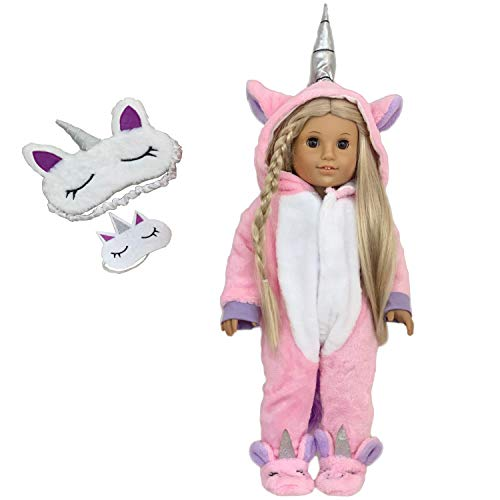 MY GENIUS DOLLS Clothes - Unicorn Onesie Pajama with Matching Sleepover Masks - Clothes for 18 inch Dolls Like Our Generation, My Life, American Girl Doll. Accessories for Slumber Party Favor