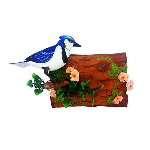 Unido Box Heat Sensor Chirping Bird with Sweet Sound and Body Move As It Chirps (Horizontal, Blue Jay)