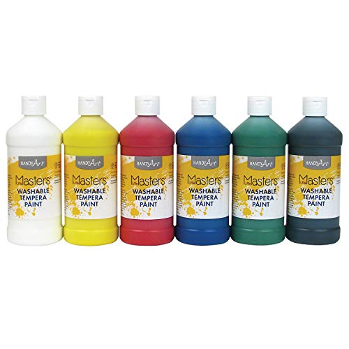 Handy Art Masters Washable Tempera Paint, 6-16 oz, 6 per Set