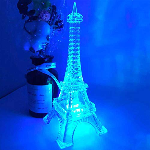 Eiffel Tower Decor Light Colorful LED Nightlight Paris Style Desk Lamp for Bedroom Romantic Birthday Gift for Kids Party Cake Topper 8.7inch Battery Powered (Multicolor)