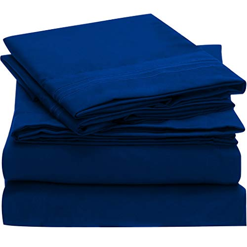 Mellanni Bed Sheet Set - Brushed Microfiber 1800 Bedding - Wrinkle, Fade, Stain Resistant - 3 Piece (Twin XL, Imperial Blue)