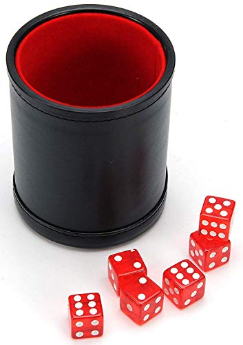 Harbor Loot Red Dice Shaker Cup Complete with Matching Dice Set of Six Red Translucent Dice