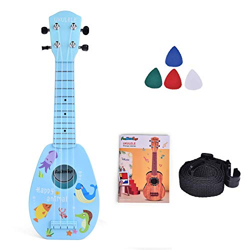 FUN LITTLE TOYS 17 Inch Ukulele for Kids, Musical Instruments for Kids with Strap, Picks and Tutorial, Learning Educational Toys for Boys and Girls (Blue)
