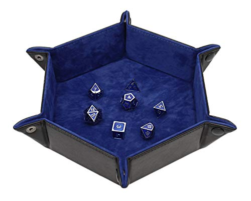 Forged Dice Co. Dice Tray Portable Folding Dice Rolling Tray for use as DND Dice Tray D&D Dice Tray or Dice Game 6.5 Inch Quiets Rolling Metal Dice - Stronger Snaps Hold Tighter Than Other Dice Trays