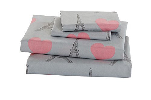 Elegant Home Multicolors Pink Grey Paris Eiffel Tower Bonjour Design with Hearts Fun Printed Sheet Set with Pillowcases Flat Fitted Sheet for Girls/Kids/Teens # Paris (Twin Size)
