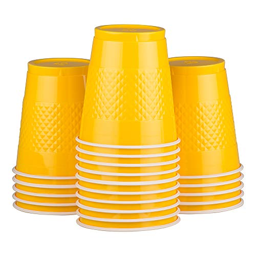 JAM Paper Plastic Party Cups - 12 oz - Yellow - 20 Glasses/Pack