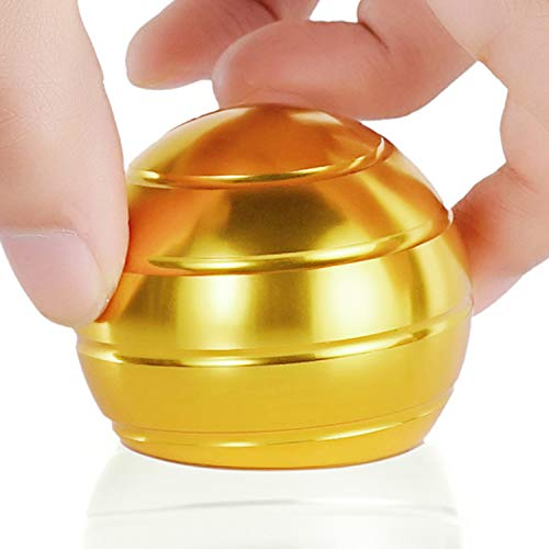 Kinetic Desk Toys for Office Adults and Kids Novelty Metal Fidget Gadget with Optical Illusion Unique Ball Stress Reliever for Stress Relief Anti Anxiety Increase Focus Inspire Creativity (Gold)