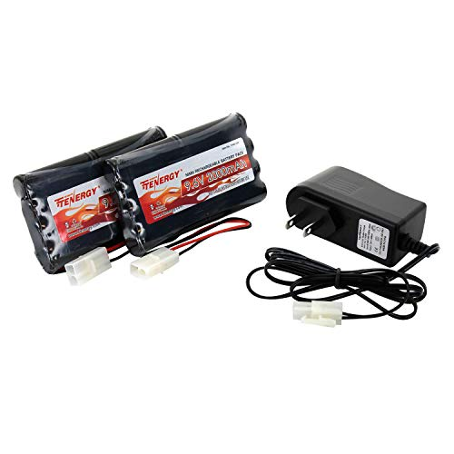 Tenergy 9.6V Flat NiMH Battery Packs for RC Car, High Capacity 8-Cell 2000mAh Rechargeable Battery Pack, Replacement Hobby Battery Pack with Standard Tamiya Connectors (2 Battery Packs + 1 Charger)