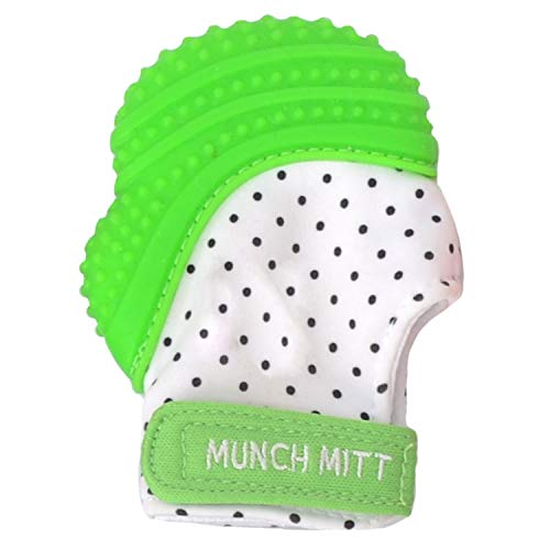 Malarkey Kids Munch Mitt Teething Mitten - The ORIGINAL Mom-Invented Silicone Teether Mitten with Travel Bag – Ideal Teething Toys for Baby Shower Gift - Green Polka Dot
