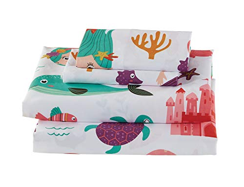 Luxury Home Collection Kids 3 Piece Twin Size Sheet Set for Girls/Teens Mermaid Sea Horse Seaturtles Starfish Dolphins White Purple Pink Teal