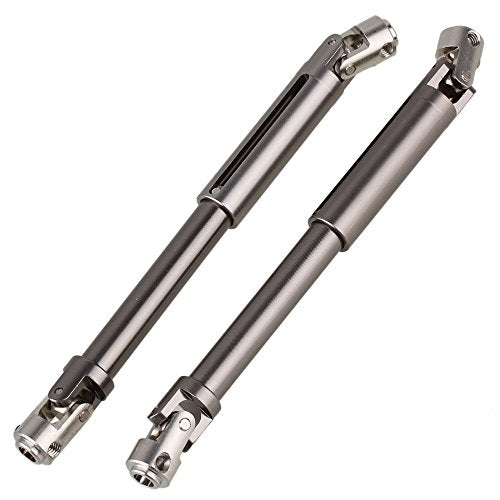 Mxfans 2PCS Titanium Color Aluminium SCX0016 Upgrade Universal DriveShaft for AXIAL SCX10 Electric 4WD for RC1:10 Climbing Car