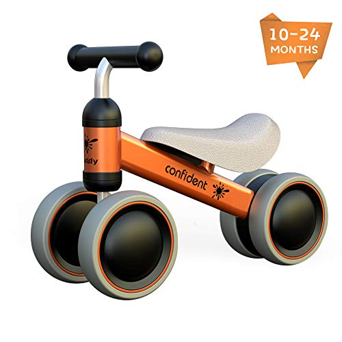 Baby Balance Bike Toddler Tricycle Bike No Pedals 10-24 Months Ride-on Toys Gifts Indoor Outdoor for One Year Old Boys Girls First Birthday Thanksgiving Christmas (Orange)