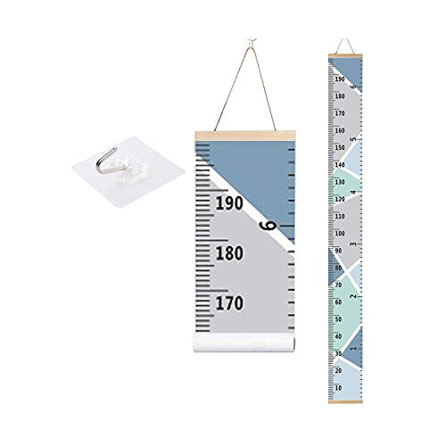 bingolar Kids Growth Chart, Children Height Chart Growth Wall Chart Height Wall Chart Art Hanging Rulers for Kids Bedroom Nursery Wall Decor Removable Height and Growth Chart(Blue 7.9 x 79in)