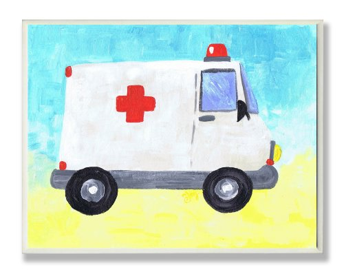 The Kids Room by Stupell Ambulance Rectangle Wall Plaque