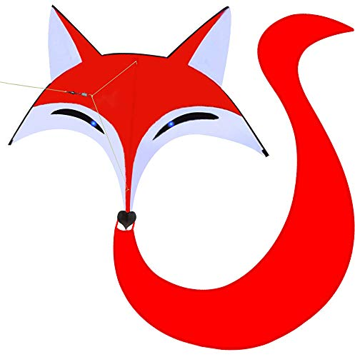 HENGDA KITE for Kids Red Fox Kite Outdoor Fun Sports Single Line Kite with Flying Tools