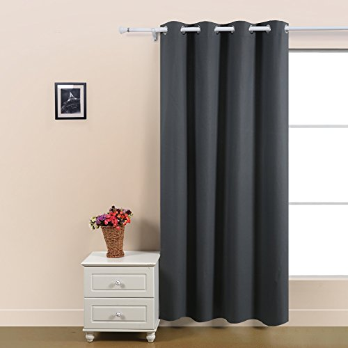 Deconovo Insulated Grommet Blackout Thermal Curtains with Silver Back Coating for Bedroom, 52x63, Grey