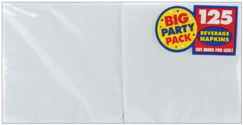 amscan White Beverage Napkin Big Party Pack, 125 Ct.