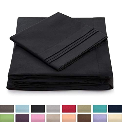 Cosy House Collection Twin Size Sheet Set - 3 Piece - Deep Pocket Twin Sheets - Extra Soft, Hypoallergenic, Cool & Breathable Bedding - Wrinkle, Stain & Fade Resistant Bedset (Twin, Black)