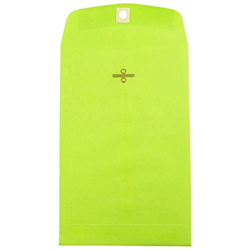 JAM PAPER 6 x 9 Open End Catalog Colored Envelopes with Clasp Closure - Ultra Lime Green - 50/Pack