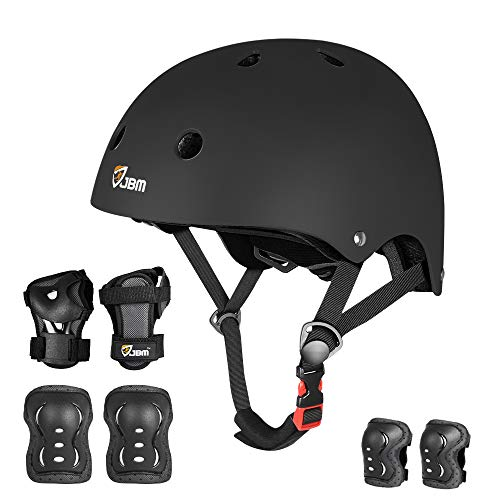 JBM Kids & Adults Full Protective Gear Set, Multi-Sport Helmet, Knee Pads and Elbow Pads with Wrist Guards, Full Protection for Muti Sport, Cycling, Scooter, Skateboarding for Boys and Girls