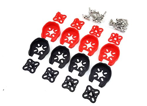 Usmile 8pcs 2204 2205 2206 2306 Motor Guard Protector Caps Universal Landing Skid Kit Gear for QAV250 ZMR250 XR215 DL220 Racing Drone Quadcopter(Red Black