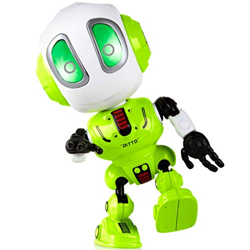 Force1 Ditto Mini Talking Robots for Kids - Robot Voice Changer Toy with Posable Body and LED Eyes, Green