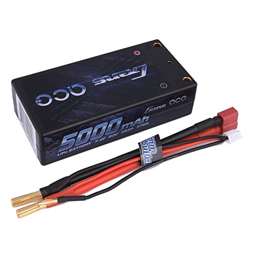 Gens ace 7.4V 5000mAh Shorty LiPo Battery 60C 2S 2P HardCase Pack with Deans T Plug for RC Car Boat Truck