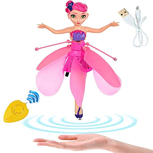 Minaliv Flying Fairy Doll Infrared Sensor Control Remote Control Child Toy Flying Princess Doll Flying Fairy Toys for Girls (Pink)