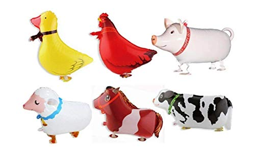 Borang 11 Pack of 6 Walking Farm Animal Balloon Birthday Bbq Party D�cor(Pony,Duck,Rooster,Cow,Pig,Sheep)
