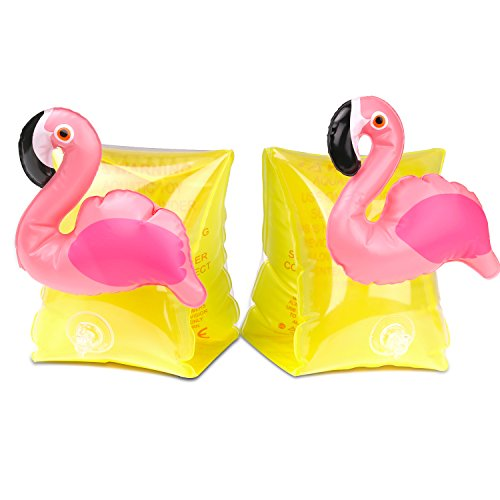 HeySplash Inflatable Arm Bands for Kids Floatation Sleeves Floats Tube Water Wings Swimming Arm Floats Cute, Flamingo Yellow
