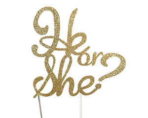 CMS Design Studio Handmade Gender Reveal Cake Topper Decoration - He or She - Double Sided Glitter Stock (Gold)