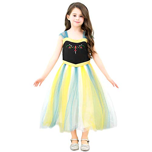 Ecparty Princess Costumes Dress for Your Little Girls Dress up (3T, Anna Dress Yellow)