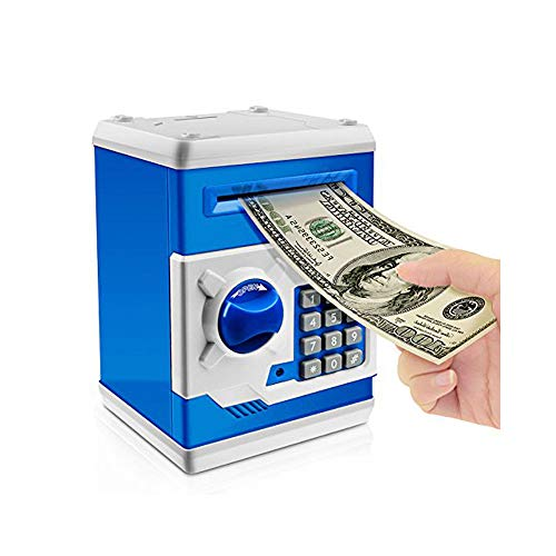 Jhua Electronic Piggy Bank for Boys Girls, Cartoon�Password Mini ATM Piggy�Bank�for�Real�Money, Kids Piggy Banks Auto Scroll Money Safe Coin Bank Panda Box, Birthday Gifts Fun Toy for Kids (Blue)