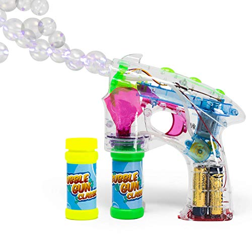 Bubble Gun Blower for Kids 2.0 - Classic (Boys & Girls) | Toy Blaster + 2X Soap Solution Bottle + 3X AA Batteries | Futuristic Shooter with Internal Wand | Fun, Colorful w/ Lights | Indoor & Outdoor