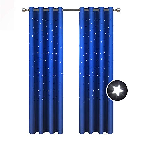 BUZIO A Pair Twinkle Star Kids Room Curtains with 2 Tiebacks Thermal Insulated Blackout Curtains with Punched Out Stars for Space Themed Nursery and Bedroom (52 x 84 Inches, Royal Blue
