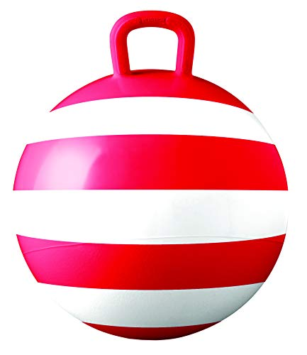 Hedstrom Red Striped Hopper Ball, Kid's Ride-on Toy, Bouncy Hopping Ball with Handle - 15 Inch