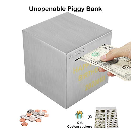 hizgo Adult Piggy Bank Stainless Steel Safe Money Banks for Adults Savings Real Money Box Coin Jar