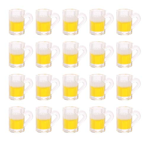 Luckycivia 20 Pcs Dollhouse Miniature Beer Mugs, Beer Cup Toys Model for Miniature Dollhouse Accessories, Doll Toy Collectible Gift