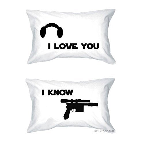 SUATMM Star Wars I Love You I Know Pillow Case Set for him her Couples