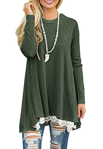 Women's Crew Neck Long Sleeve Lace Splicing Swing Shirt Dresses Long Tunic Blouses Shirts for Leggings Green