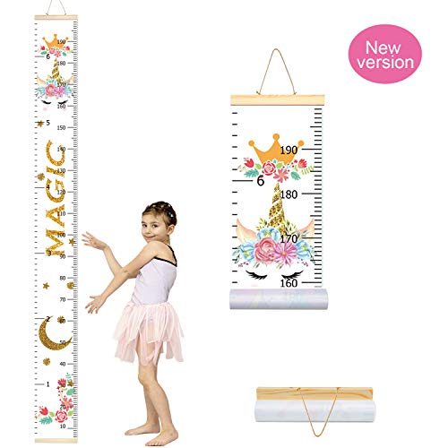 PASHOP Growth Chart for Kids,Removable Height Wall Chart for Boys Girls Unicorn Animals Art Growth Chart Home Wall Decoration 79