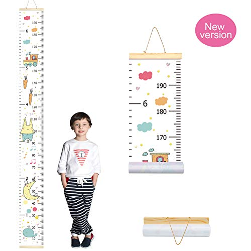 PASHOP Kids Animal Whale Growth Chart Baby Roll-up Wood Frame Canvas Fabric Removable Height Growth Chart Wall Art Hanging Ruler Wall Decor for Nursery Bedroom 79 x 7.9 Inch (Rabbit and Whale)