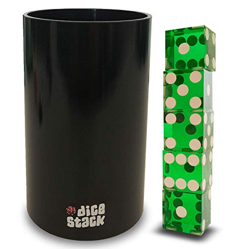 Dice Stacking PRO Cup Set - Professional Straight Cups with 5 Razor Edges 19mm Real Casino Dice in a Box - Accessories - Magic Tricks - Green