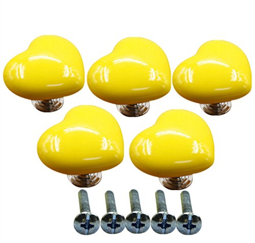Ltvystore 5Pack Yellow Ceramic Heart Cabinet Knobs,Drawer Pulls & Handles Set,Ceramic Heart Shape Knobs for Door Dresser Drawer Cupboard Baby Kid's Children's Furniture with Screws