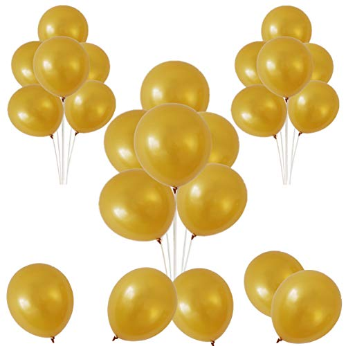 Elecrainbow 12 inches Gold Balloons, 100 Pack, 3.2g per Piece, Shining Gold